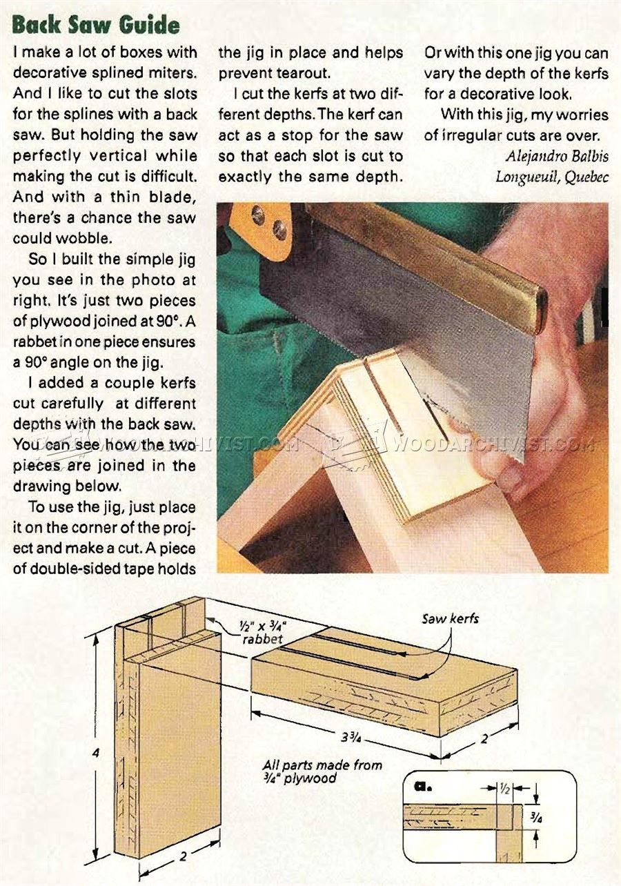 Back saw guide joinery tips jigs and techniques - Trabajos de bricolaje ...