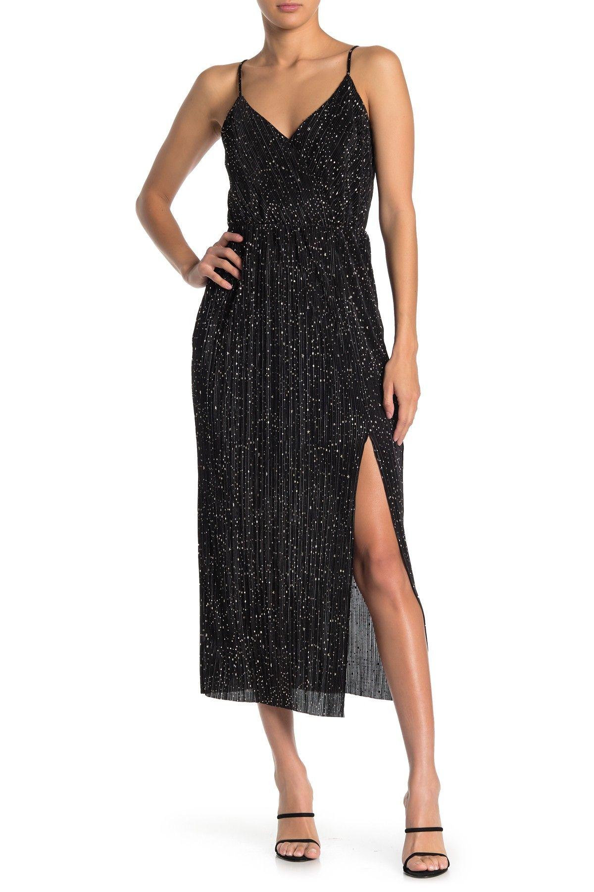 Lush Metallic Star Print Pleated Faux Wrap Midi Dress Nordstrom Rack Nordstrom Dresses Midi Dress Dresses [ 1800 x 1200 Pixel ]