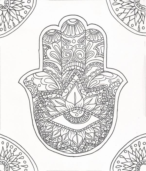 Hamsa Eye Flower Outline By Victoria Josephine Society6 Hamsa Coloring Pages Hamsa Design