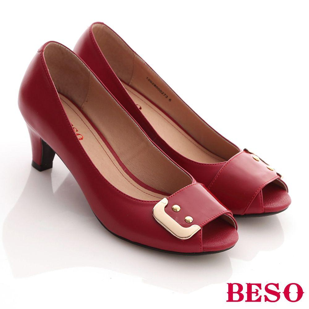 BESO 都會摩登-柔軟真皮金屬飾釦通勤中跟魚口鞋-紅 - Yahoo!奇摩購物中心