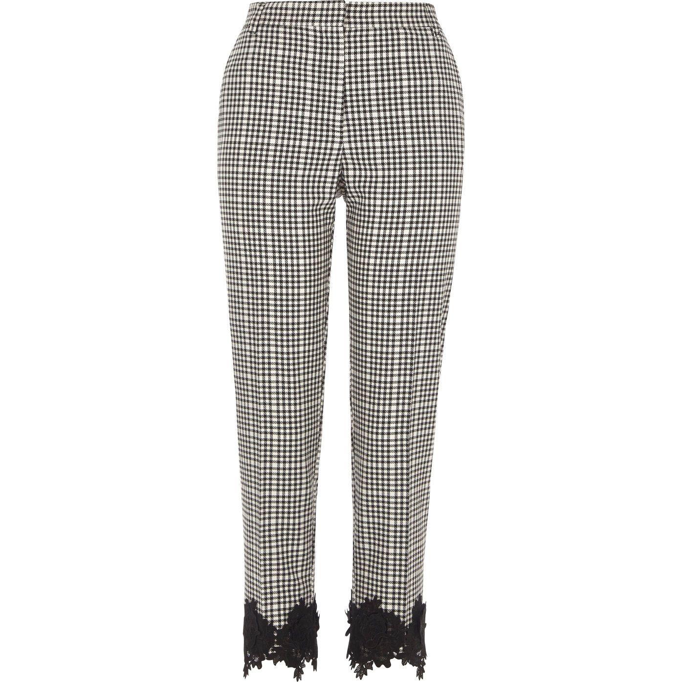 8f016e1e471f Black gingham crochet hem cropped trousers - cropped trousers - trousers -  women