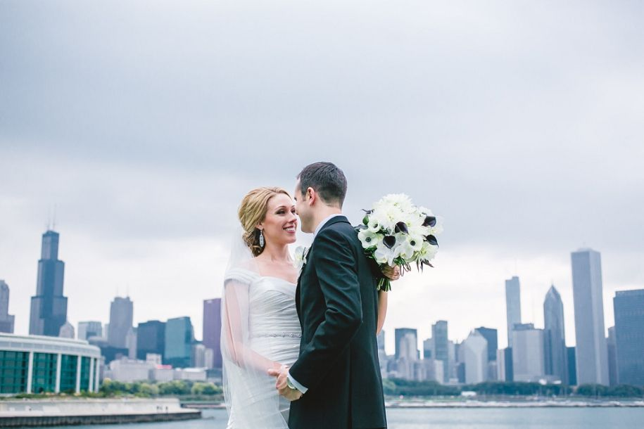 chicago skyline wedding pictures near adler planetarium shedd aquarium wedding photography by ann