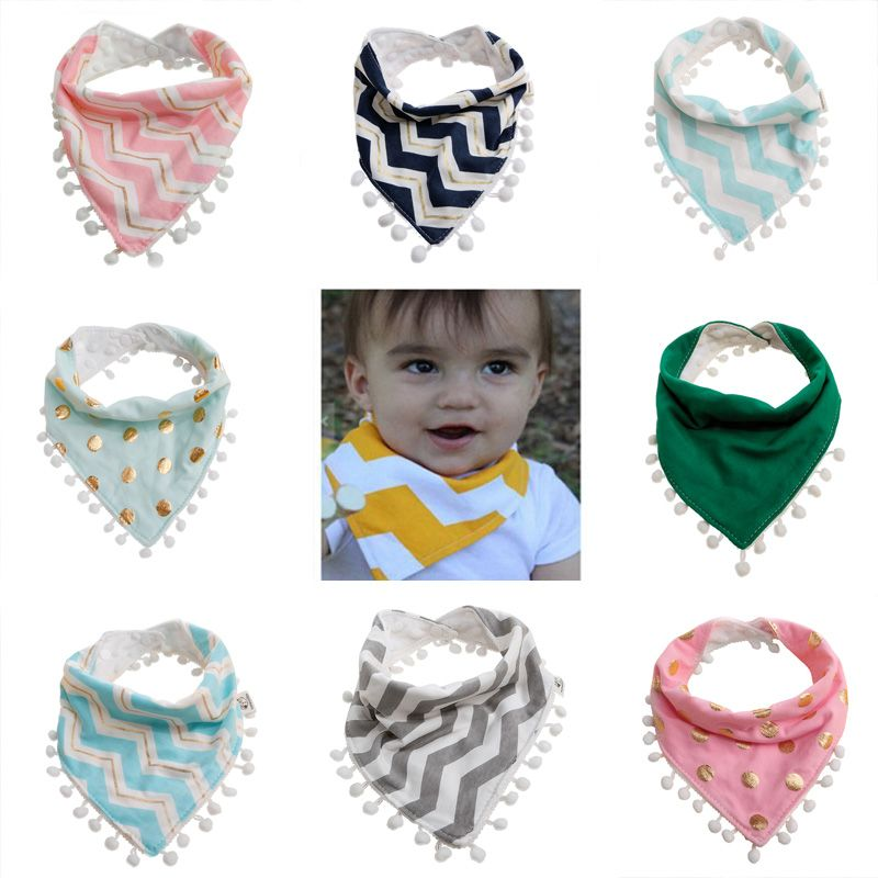 Cute Baby Feeding Head Scarf Towel Bib Saliva Triangle Dribble+Teething Rings