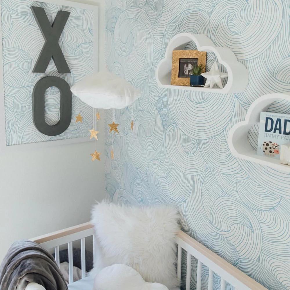 Piper Wallpaper Clouds nursery, Nursery, Waves wallpaper