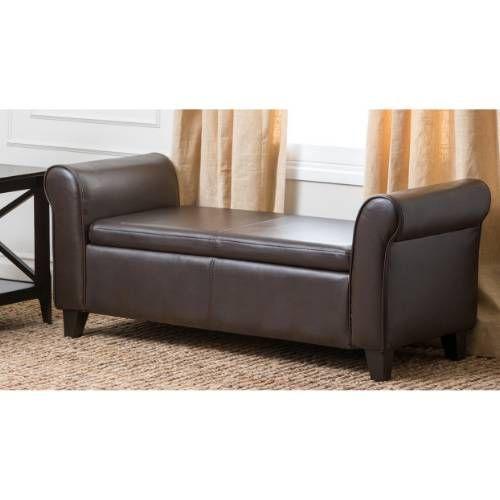 Unique Abbyson Living CI D BEN Easton Bonded Leather Storage Ottoman Bench in Dark Brown Minimalist - Luxury bedroom benches with storage Idea