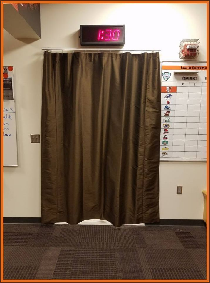 This curtain and rod were installed in the BGSU men's basketball locker room. The university was careful to ensure the color matched that of the school. Go Falcons!