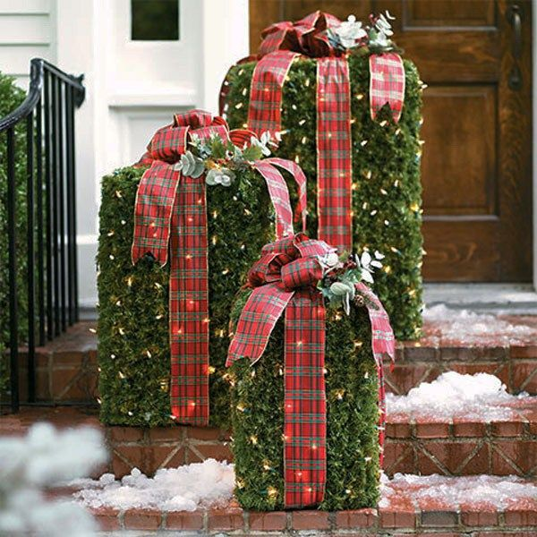 Vintage Outdoor Christmas Decorations For Sale.Diy Greenery Boxes With Lights And Plaid Bows Fresh