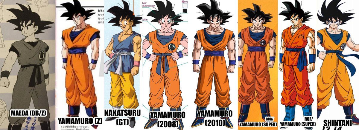 Updated Comparison Chart For The Character Designs Of Goku