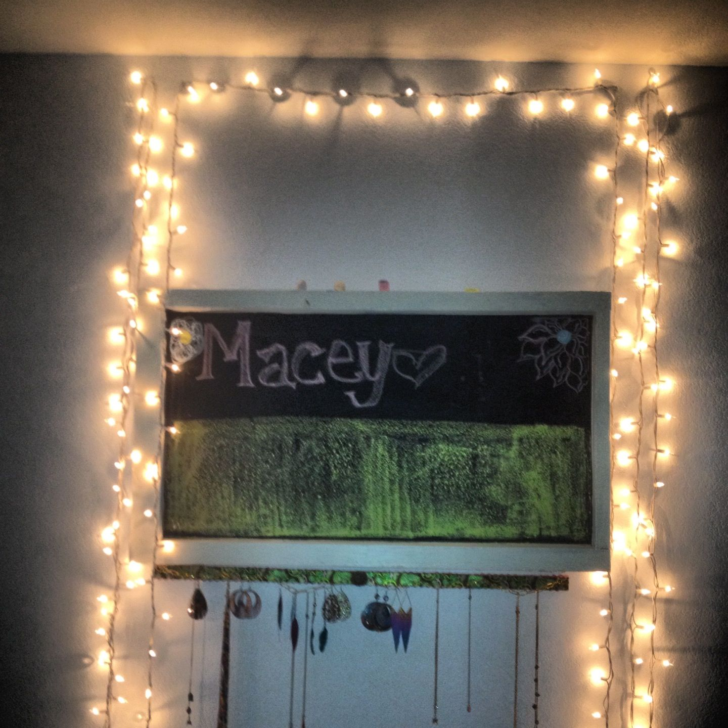 Chalkboard painted glass and Christmas lights