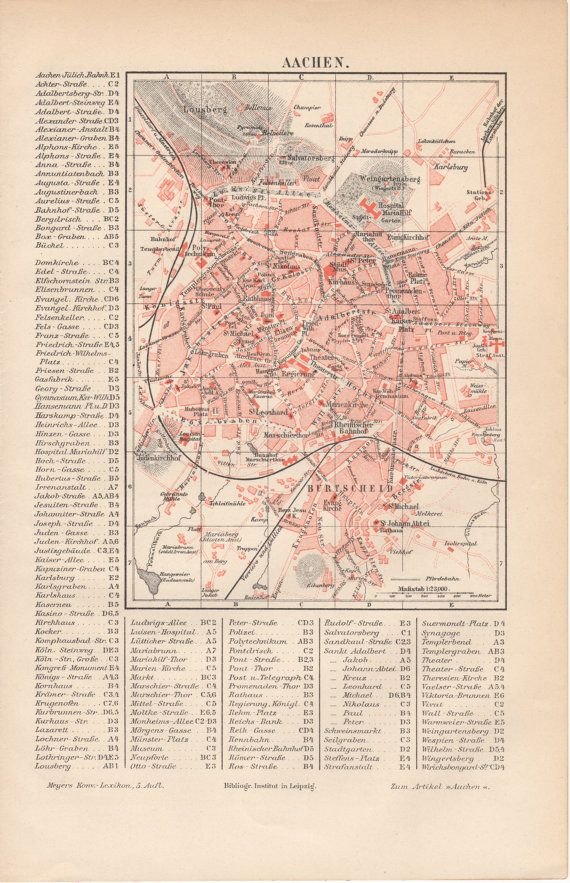 1893 Aachen Germany Antique Map Bad Aachen