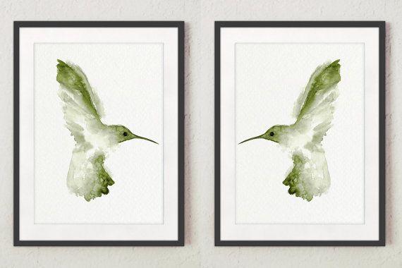 Kolibri Art Print Set 2 Vogel Aquarell. Chartreuse Grün Wand Dekor. Zwei  Vögel Illustration Wohnzimmer Clipart Abstrakten Bild.