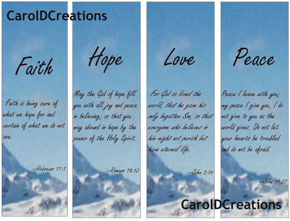 Printable Faith Hope Love and Peace bookmarks by CarolDPrintables