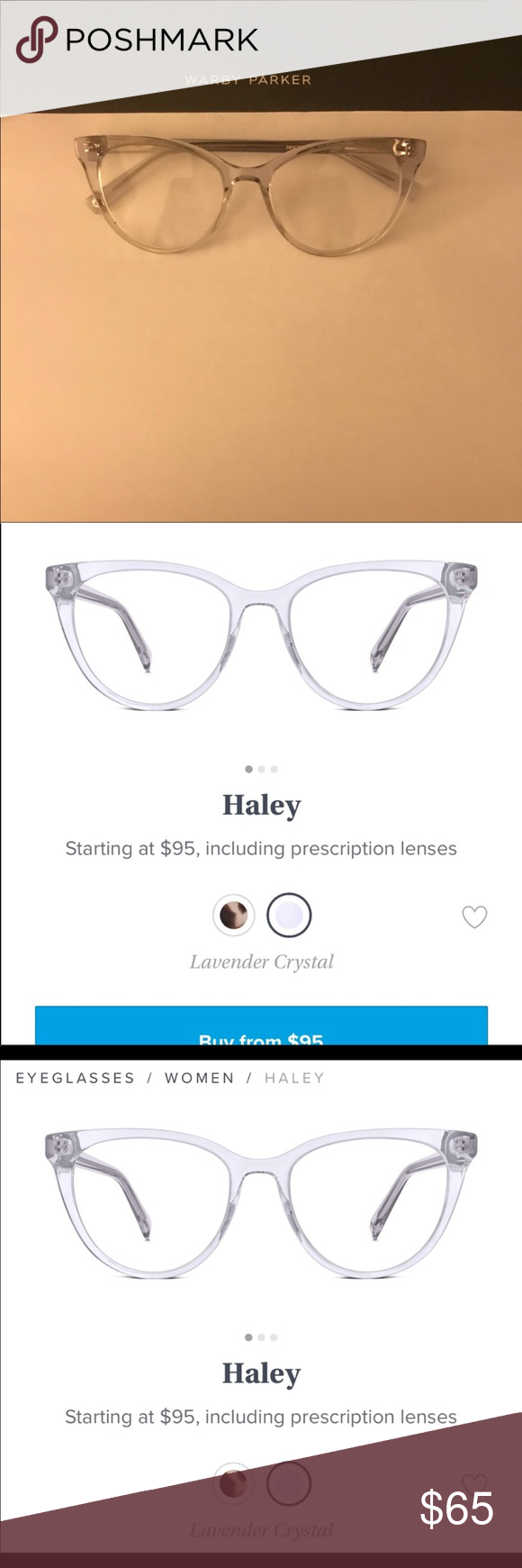 "8f810d9407 Warby Parker ""Haley"" eye glasses Warby Parker ""Haley"" Eyeglass Frames in  Lavender"