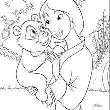 Mulan With A Little Bear Coloring Page Disney Coloring Pages
