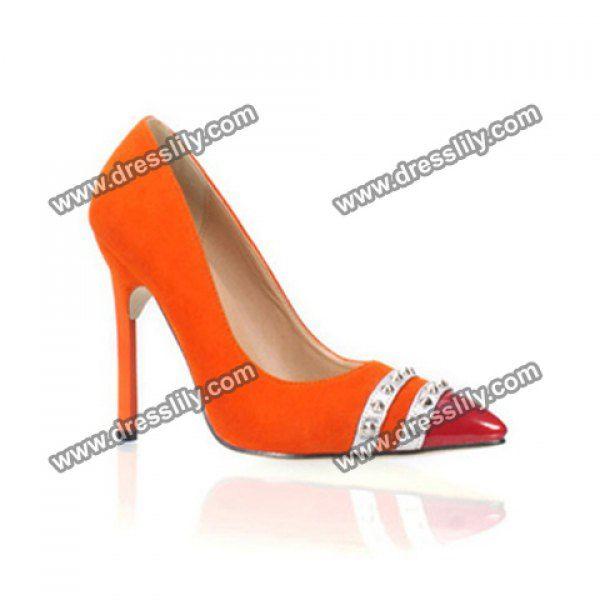 Trendy Rivets and Striped Design Pumps For Women, ORANGE, 40 in Pumps | DressLily.com