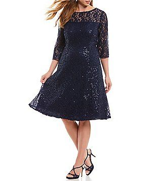 b362872db3 Ignite Evenings Plus Size 3 4 Sleeve Sequin Lace Fit and Flare Dress ...