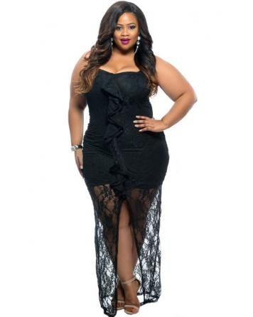 5f9839e22f Fekete áttetsző fodrdos ruha Plus size | Női divat | Dresses, Plus ...