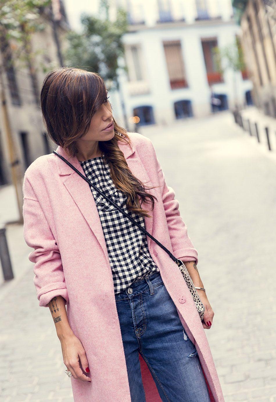 zara chaqueta de lana rosa look casual brb8393de