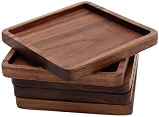 Homeofying rond carr/é vintage r/étro Noir Bois de noyer Isolation Tasse Dessous de Verre Mug Tapis de Pad pour table de salle /à manger #2