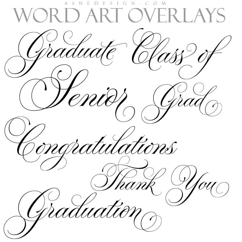 Word Art Set Graduation Expressions Thin Script