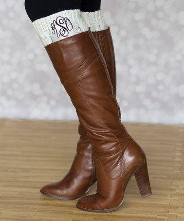 Cream Monogram Leg Warmers  #zulily #zulilyfinds