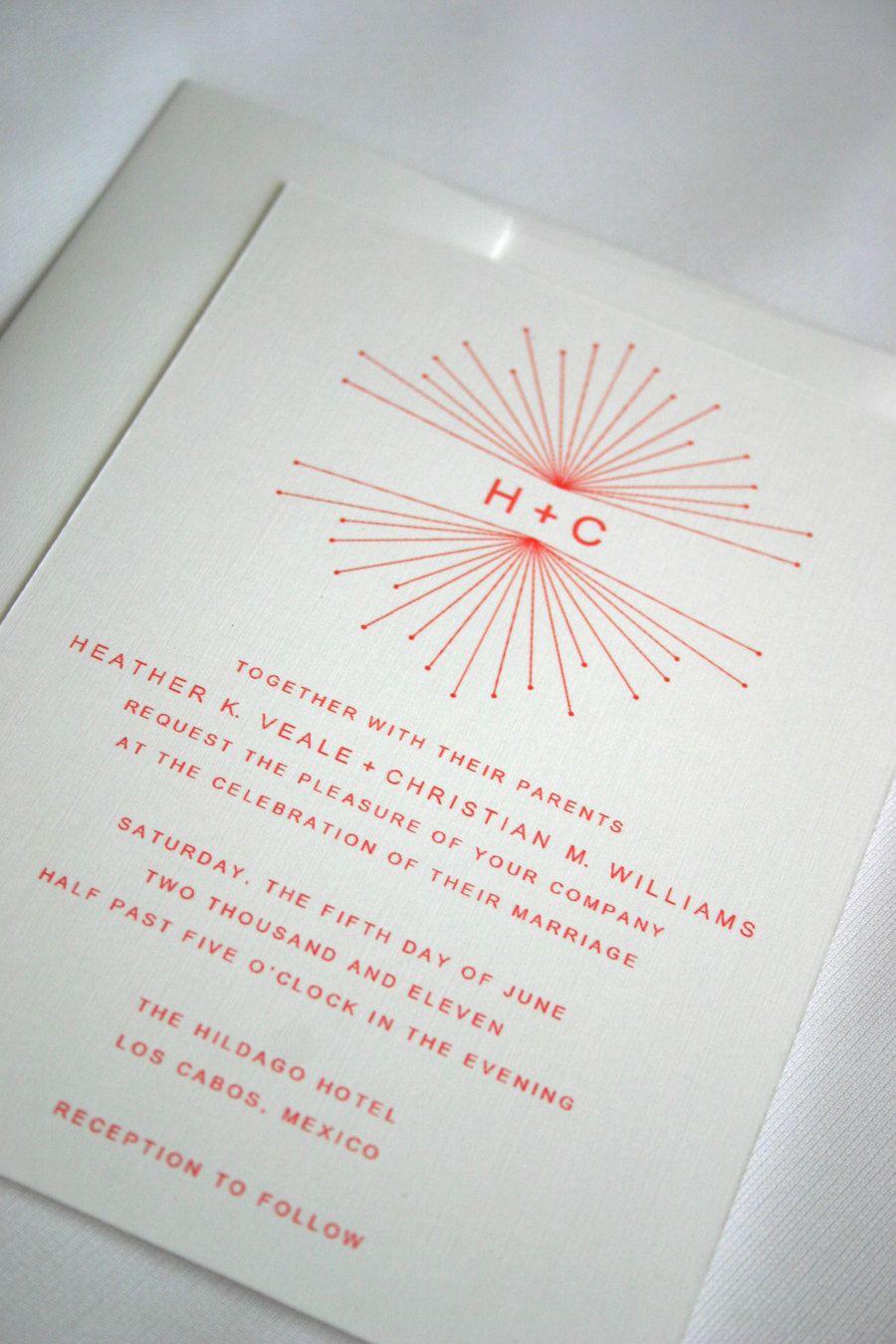 Minimalist starburst wedding stationery, coral wedding invitation, customizable wedding invitations. $3.70, via Etsy.