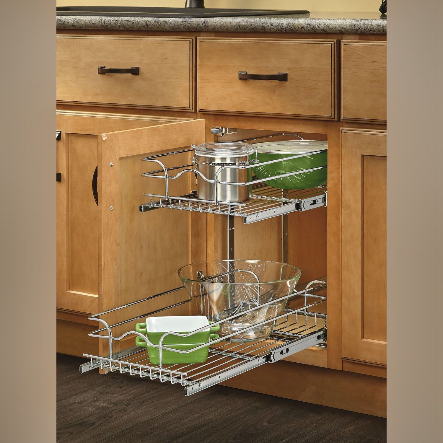 Rev A Shelf Chrome Grey 12 inch Pullout 2 tier Wire Basket