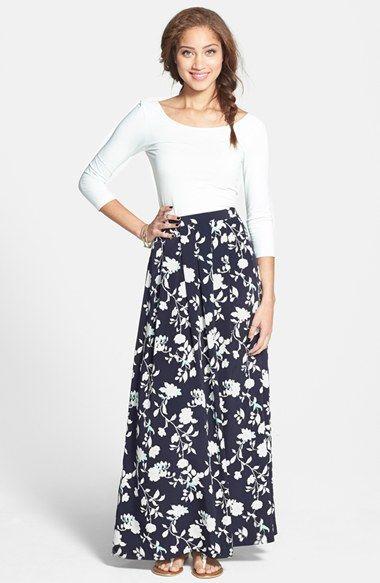 0dbf29e975 Painted Threads Print Pleat Maxi Skirt (Juniors) in Navy Print -- $42.00