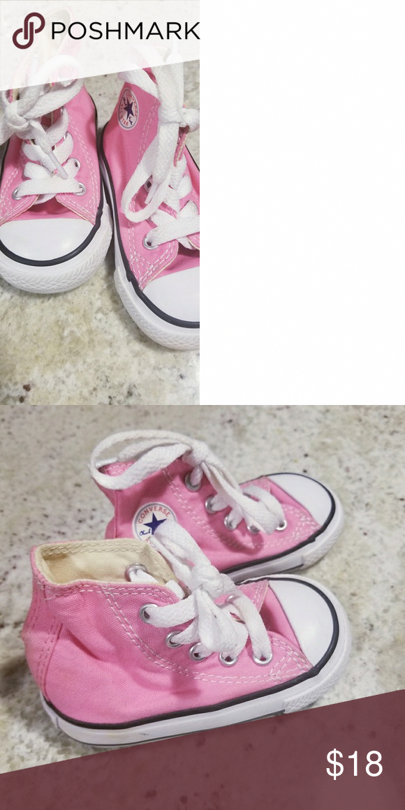 86be2904ed11 Baby girl converse High top baby girl pink converse used once. Size 4 in  excellent condition no wear or stains. Converse Shoes Sneakers   curvypetitefashion