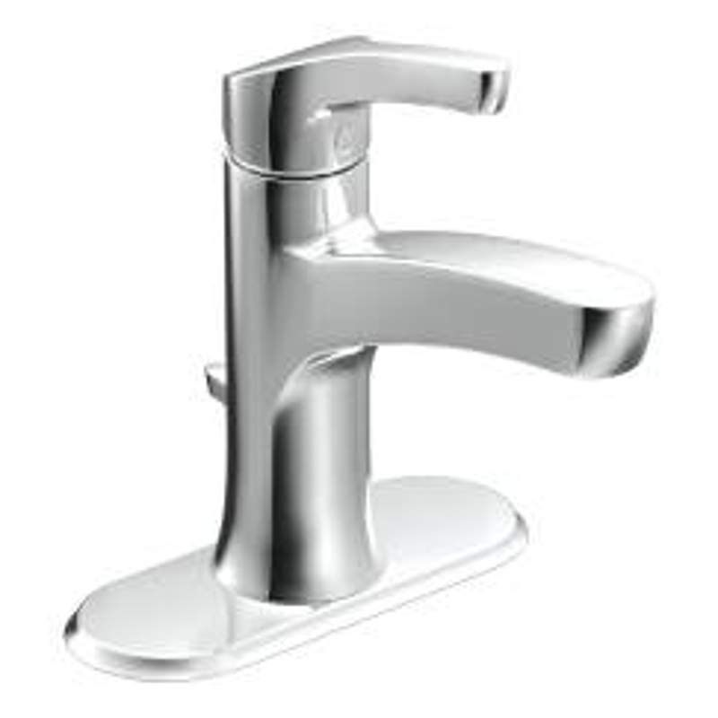 Moen WSL84733 Danika Single Hole Bathroom Faucet with Pop-up Drain ...