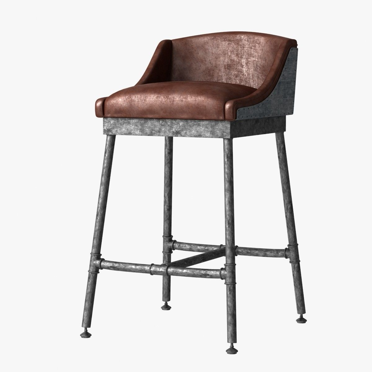 Restoration Hardware Iron Scaffold Leather Barstool Model Available On Turbo Squid The World S Leading Provider Of Digital Models For Visualization Films