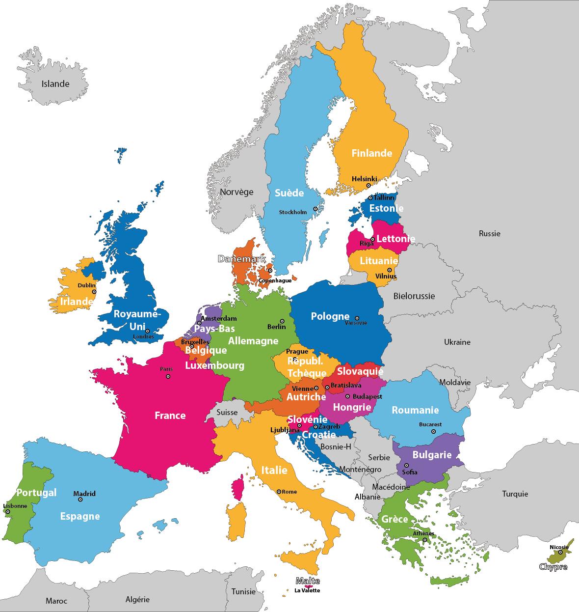 carte d europe avec capitale Carte des États membres de l'Union européenne (avec images