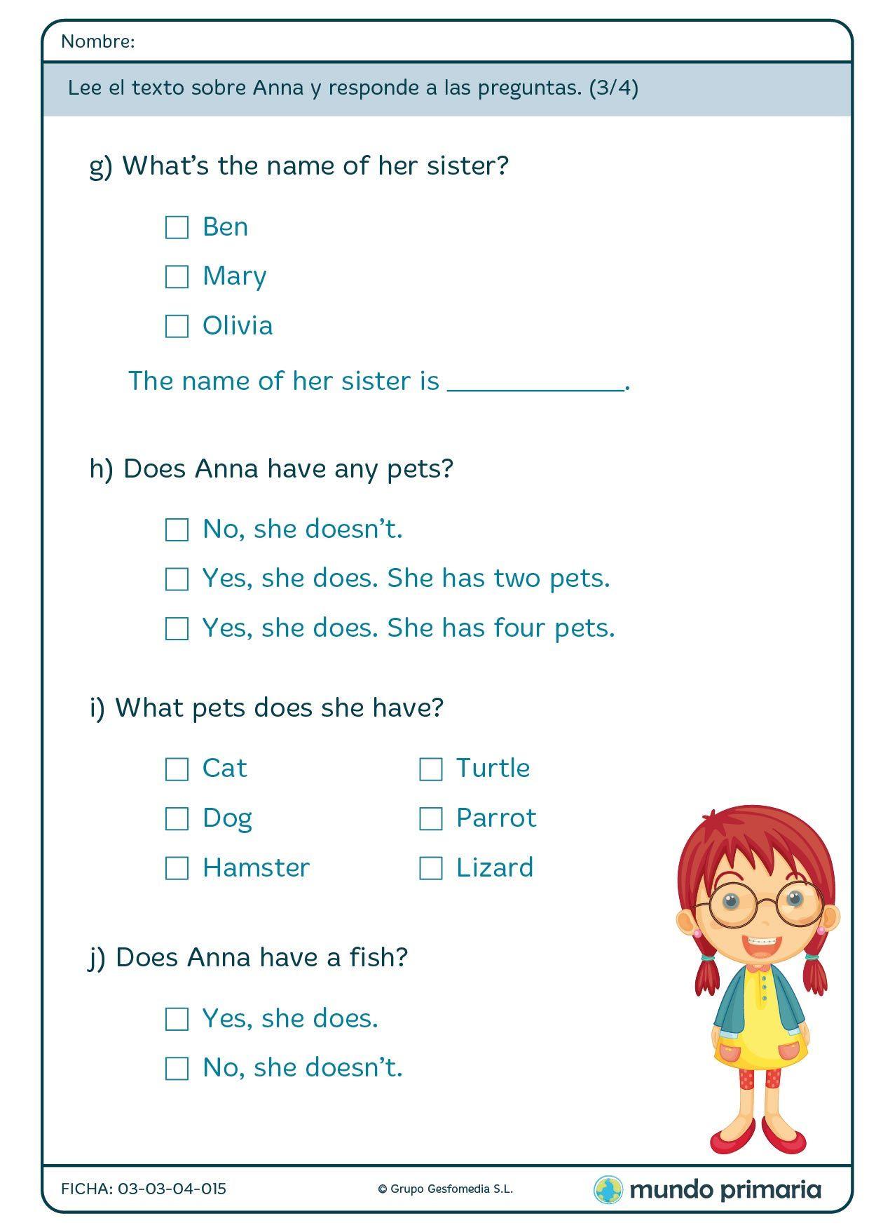 Fichas De Reading Para 1º De Primaria Mundo Primaria Comprensión Lectora Ejercicios De Ingles Aprender Ingles Para Niños
