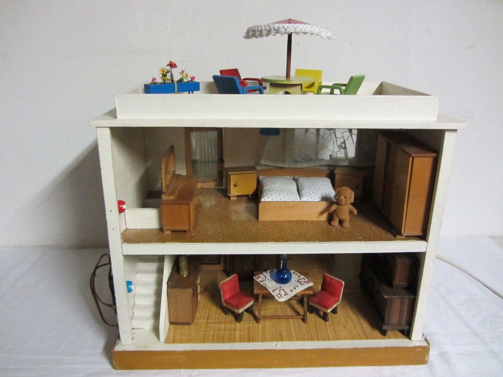 ddr vero puppenhaus mit m bel licht klingel puppenstube puppenk che ebay dollhous. Black Bedroom Furniture Sets. Home Design Ideas