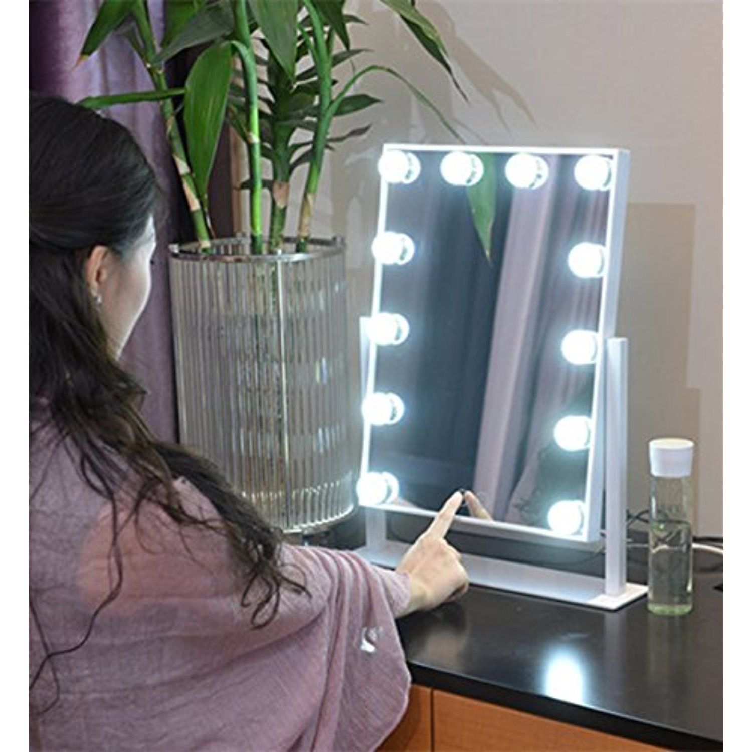 Large makeup mirror touch screen with 12 big led bulbs lighted large makeup mirror touch screen with 12 big led bulbs lighted mirrors adjustbale brightness white aloadofball Choice Image