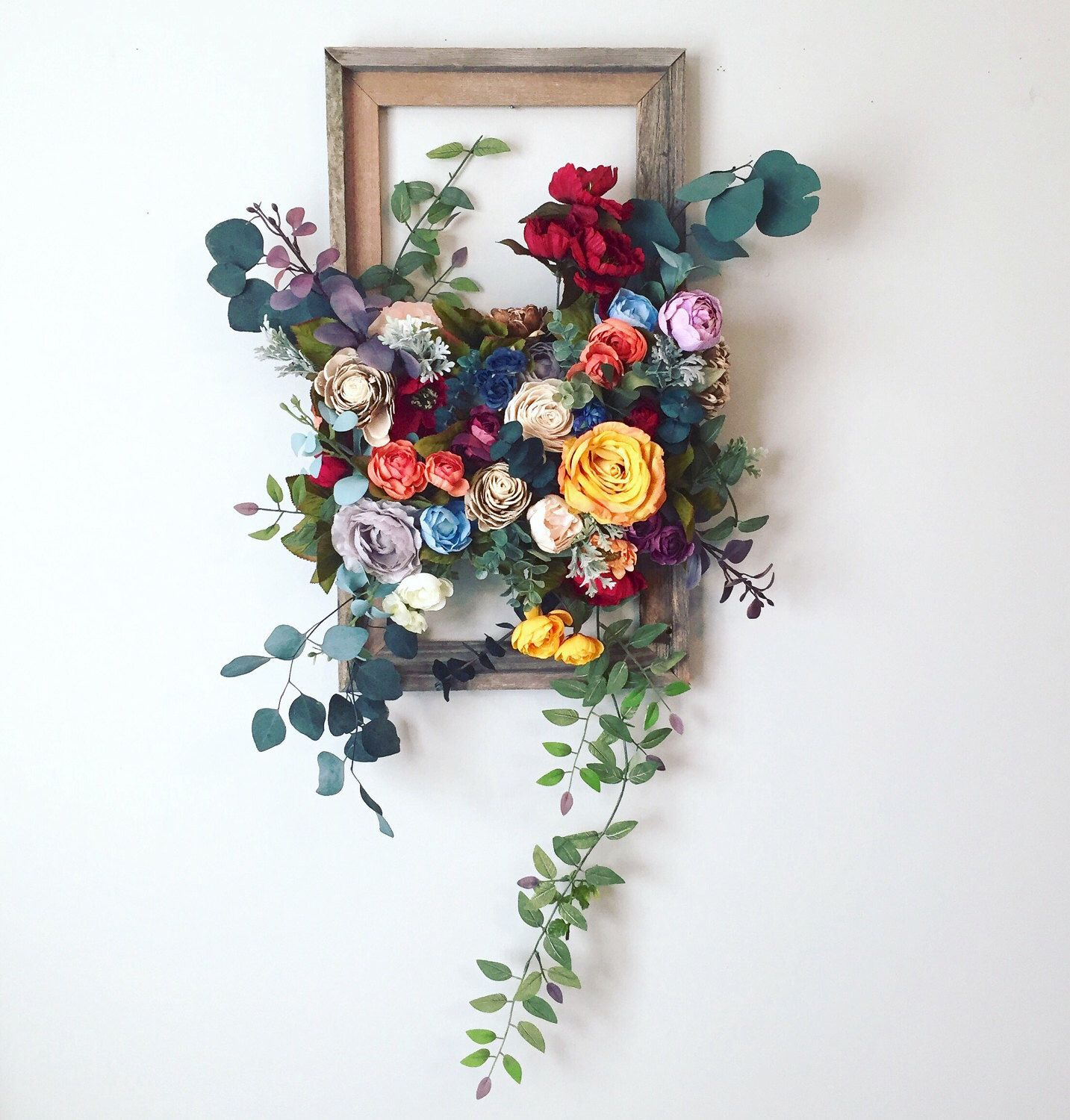 Foam Covered In Flowers In Open Frame Wall Hanging Floral Wall