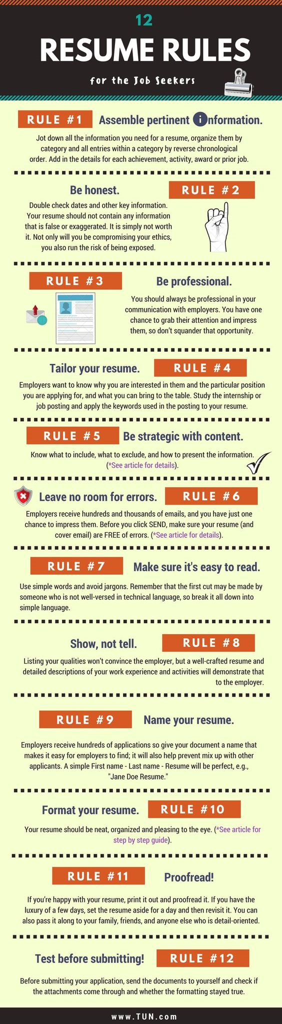 12 Resume Rules For Today S Job Seeker Resume Resumetips Advice