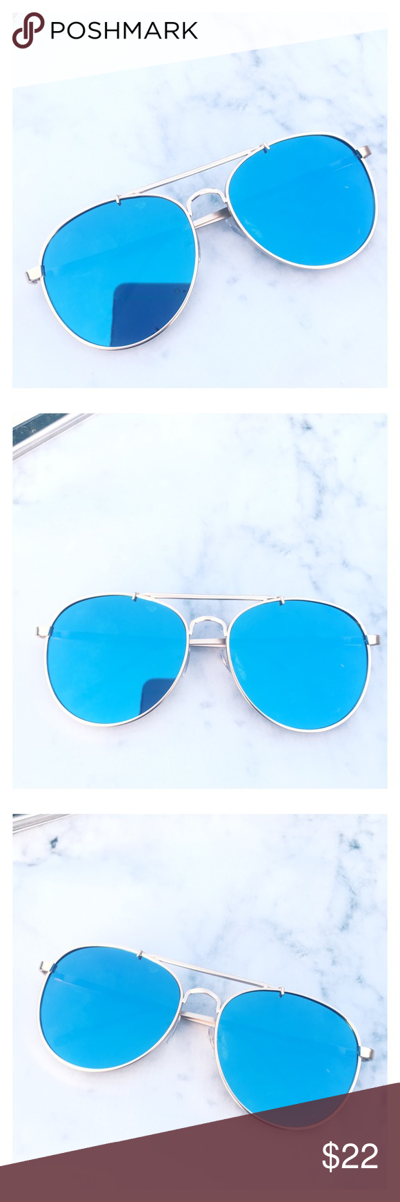 64ee58f432c9e Blue Mirrored Aviator Sunglasses Stylish pair of blue Aviator sunglasses. Blue  Mirrored Sunglasses. Trending sunglasses. UV protection. Brand new.