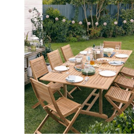roscana teak wooden 6 seater dining set image 2 garden furniture rh pinterest com