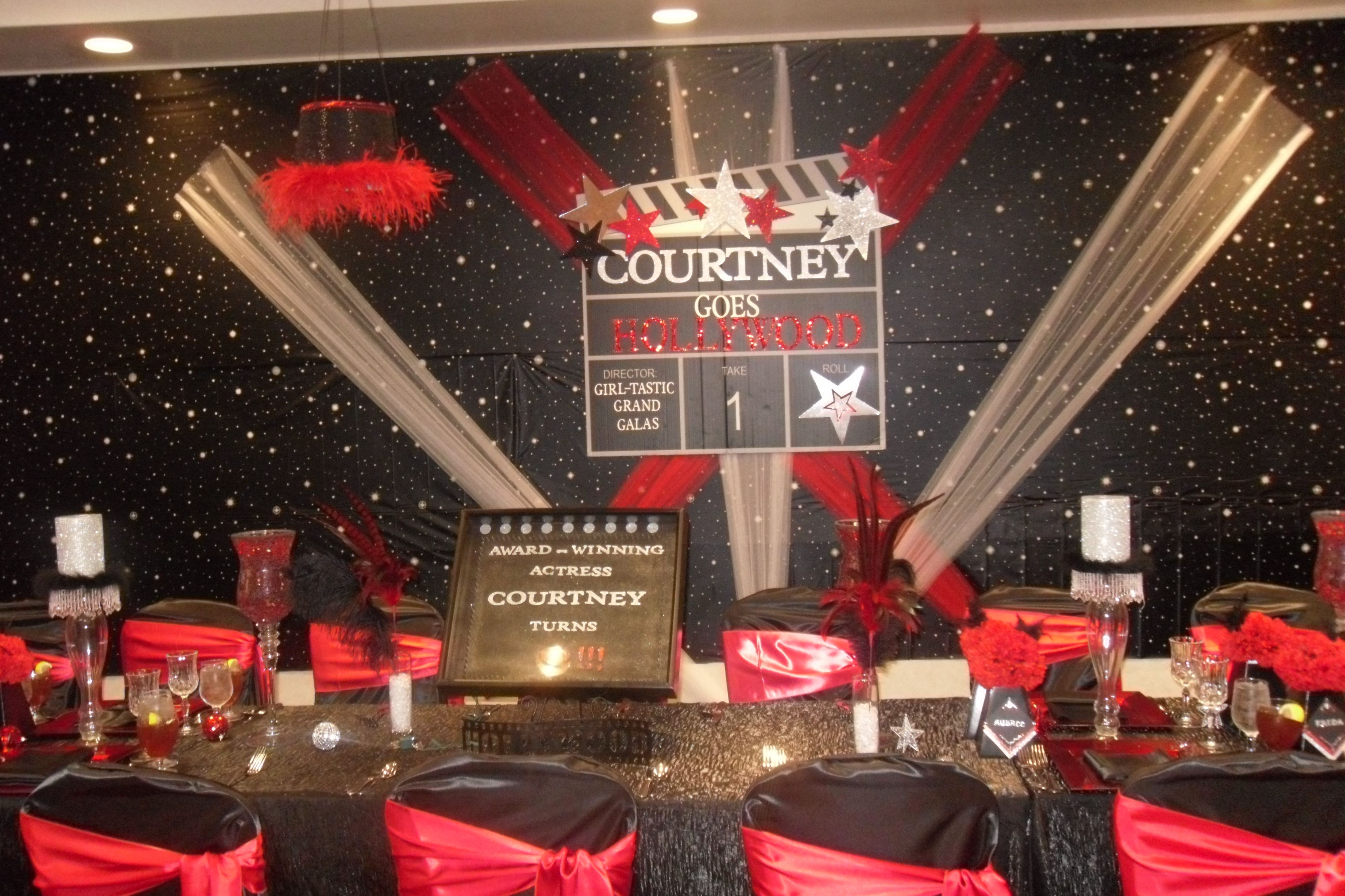 Hollywood Parties Ideas Hollywood Theme Party With Themed Backdrop Children S With Images Hollywood Birthday Parties Hollywood Party Decorations Hollywood Party Theme