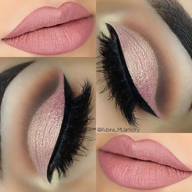 Photo of Soft Pink Cut Crease  EYES Евгений Худин Rose Gold Palette by Huda B…