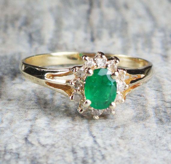 Vintage 14k Gold Emerald Diamond Ring 14k Yellow Gold Genuine