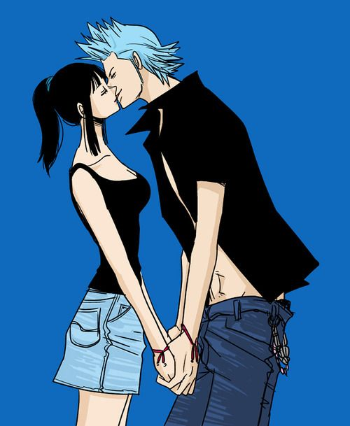Young franky and robin frobin froben pinterest - One piece luffy x robin ...