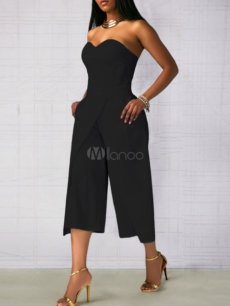3ed42ee7a6 White Long Jumpsuit Strapless Sleeveless Layered Women s Jumpsuit  Jumpsuit
