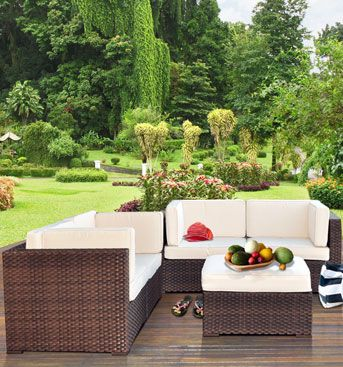 Trinidad Wicker Seating 5 Piece Set With Cushions