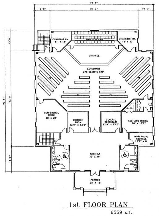 Small church building plans joy studio design gallery for Floor plan church