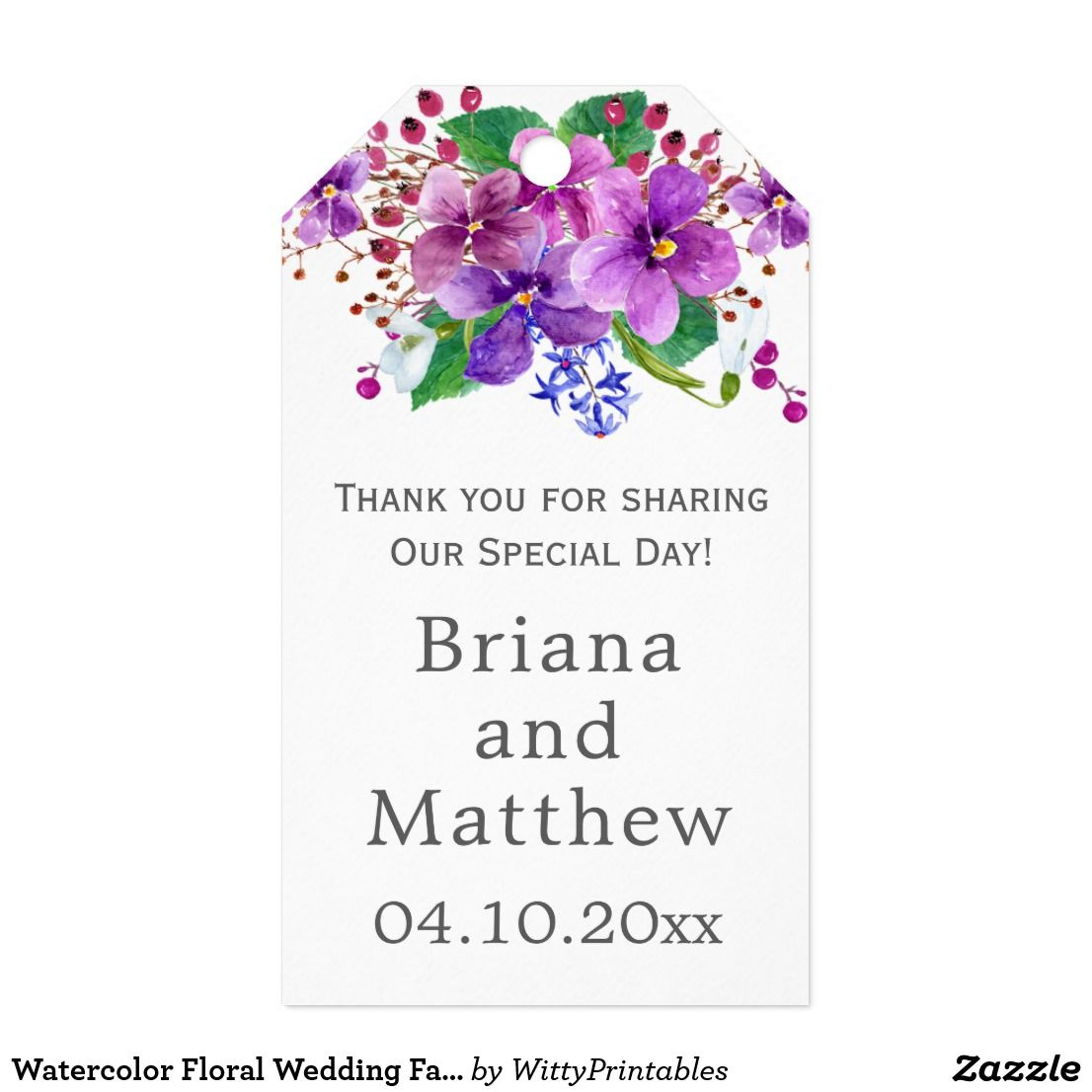 Watercolor Floral Wedding Favors Gift Tag | Floral wedding, Favors ...
