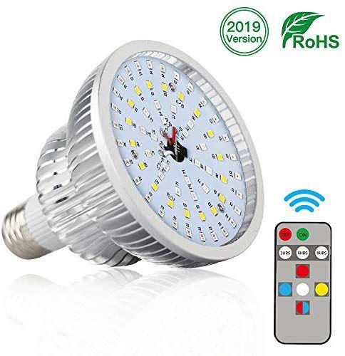 Grow Light Bulb With Remote Juhefa 50W Full Spectrum Plant 640 x 480