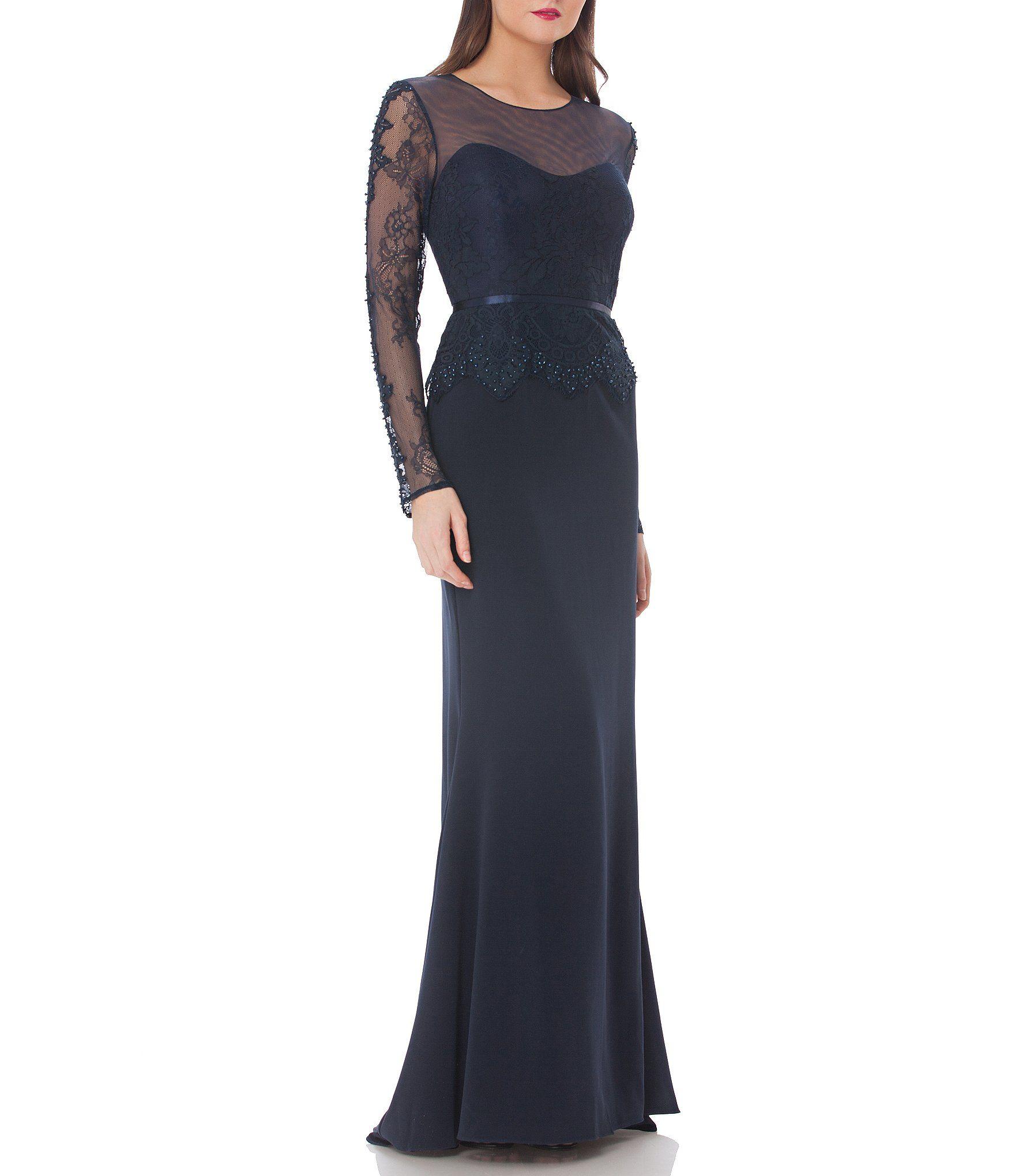 JS Collections Illusion Neckline Gown | Illusion neckline, Dillards ...