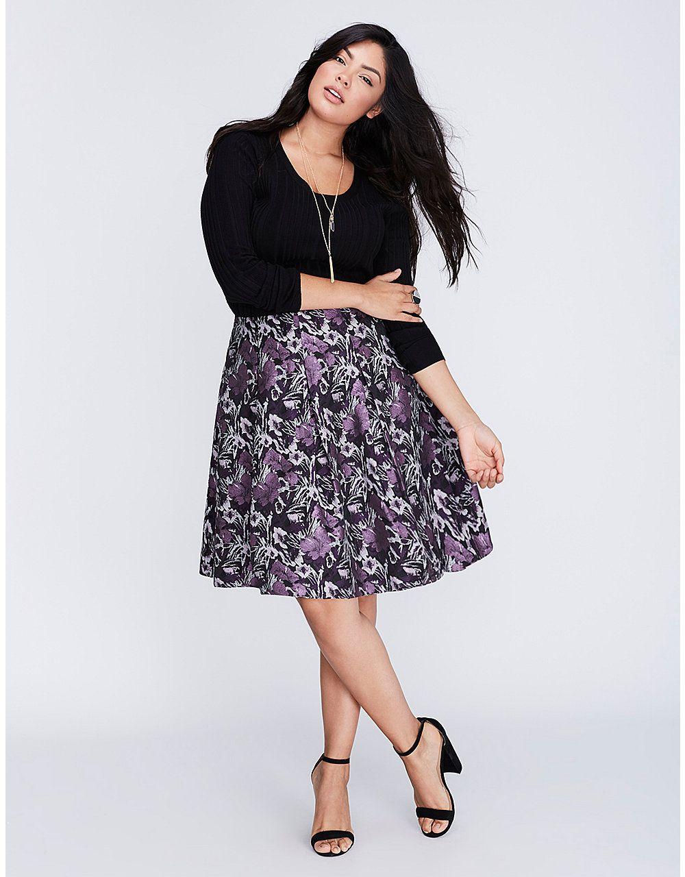 1b55726ed4 Floral Jacquard Circle Skirt   Lane Bryant   Style   Skirts, Evening ...